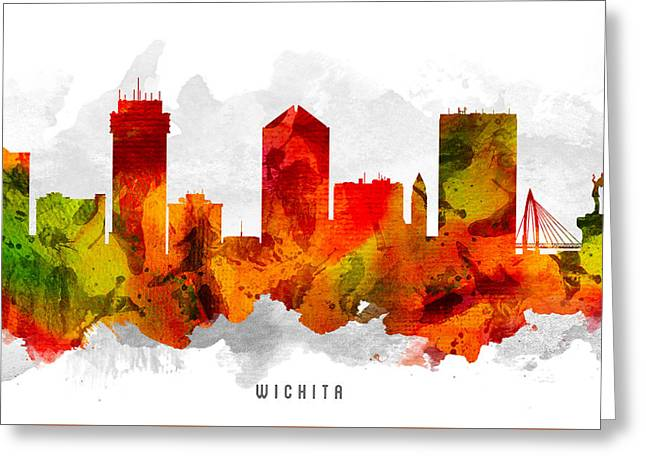 Wichita Kansas Cityscape 15 Greeting Card by Aged Pixel