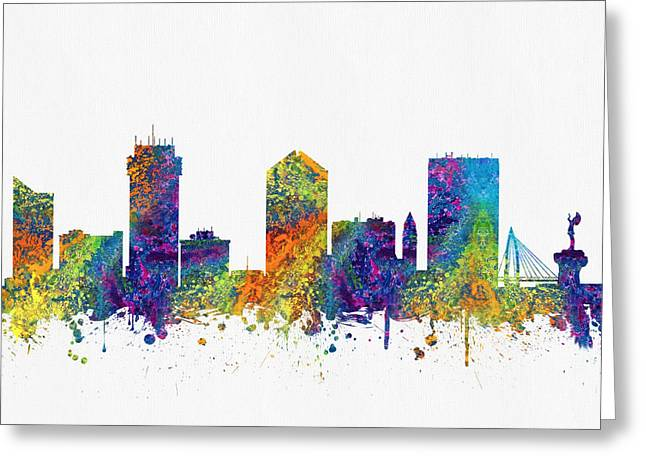 Wichita Kansas Skyline Color03 Greeting Card by Aged Pixel