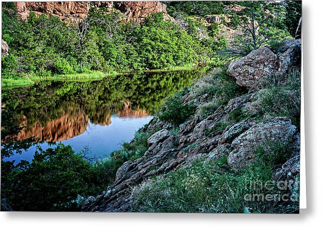 Wichita Mountain River Greeting Card by Tamyra Ayles