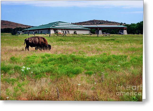 Wichita Mountain Wildlife Reserve Welcome Center I Greeting Card by Tamyra Ayles