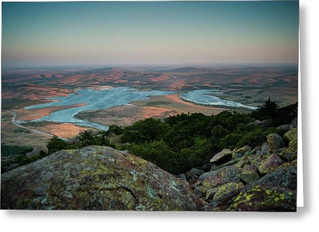 Wichita Mountains Sunset Greeting Card by Iris Greenwell