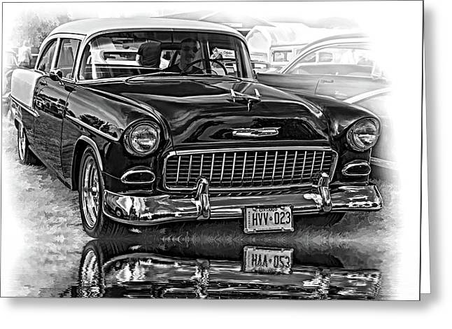 Wicked 1955 Chevy - Reflection Bw Greeting Card