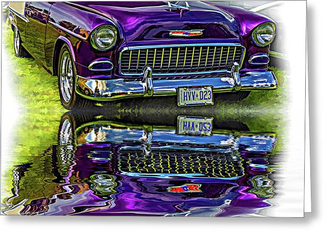 Wicked 1955 Chevy - Reflection Greeting Card