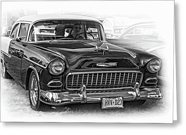 Wicked 1955 Chevy - Vignette Paint Bw Greeting Card