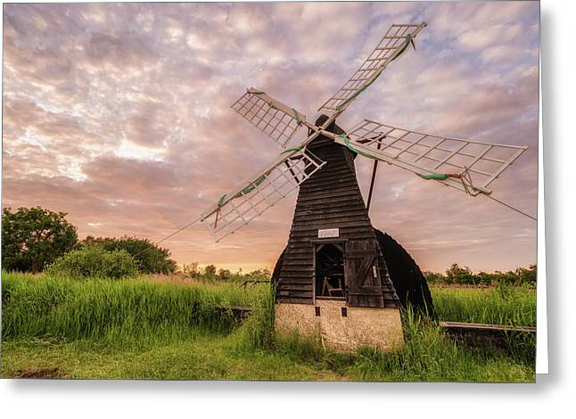 Wicken Wind-pump At Sunset II Greeting Card