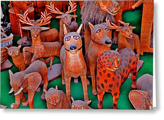 Wicker Animals. Madeira. Pleasing Memory.  Greeting Card