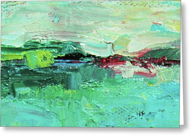 Wide Abstract I Greeting Card by Becky Kim
