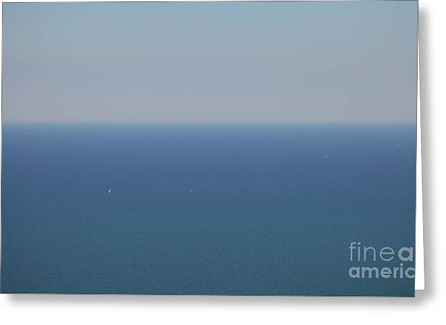 Wide Blue Sea Greeting Card by Holger Ostwald
