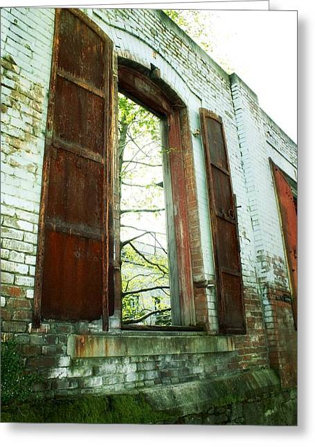 Urban Buildings Greeting Cards - Wide Open Greeting Card by Cathie Tyler