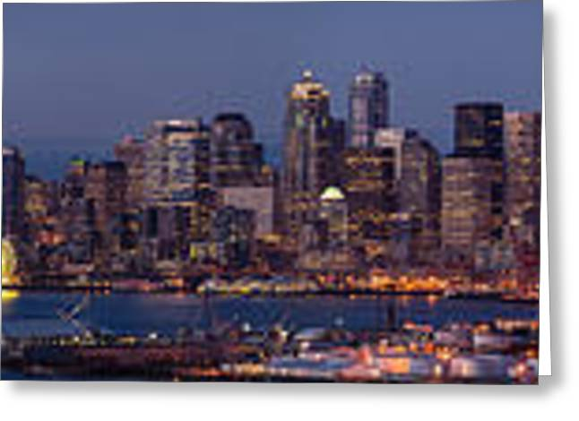Wide Panorama Of The Seattle Skyline At Dusk Greeting Card by Mike Reid