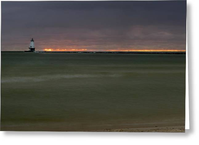 Wide View Of Lighthouse And Sunset Greeting Card