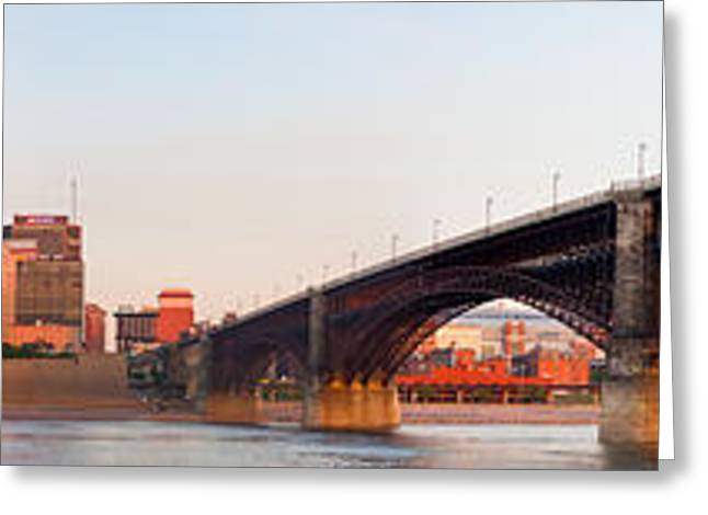 Wide View Of St Louis And Eads Bridge Greeting Card