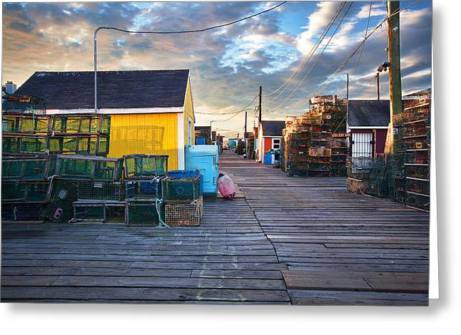 Widgery Wharf Portland Sunrise Greeting Card