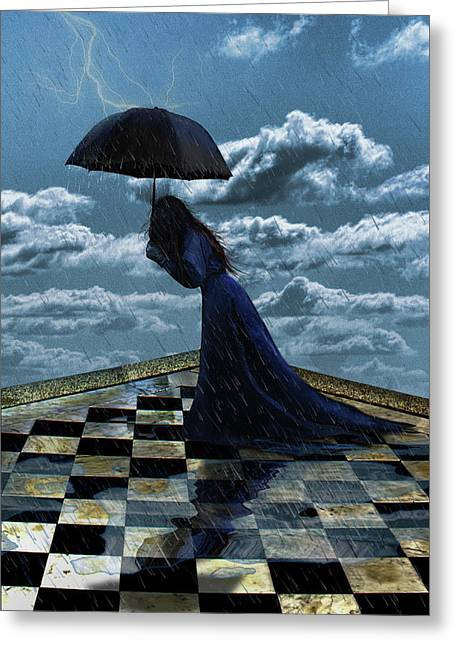 Widow In The Rain Greeting Card