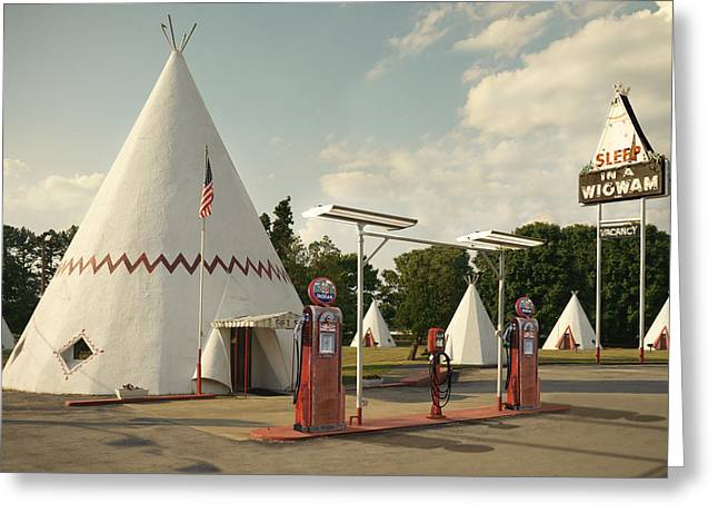 Wig Wam Motel And Indian Gasoline Station Greeting Card by Mike McGlothlen