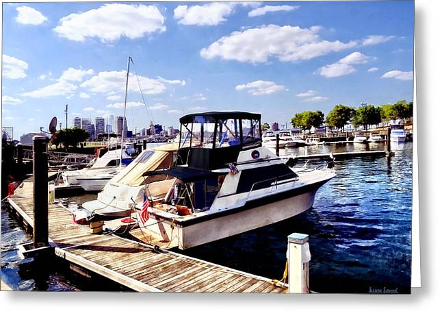 Wiggins Park Marina Greeting Card by Susan Savad