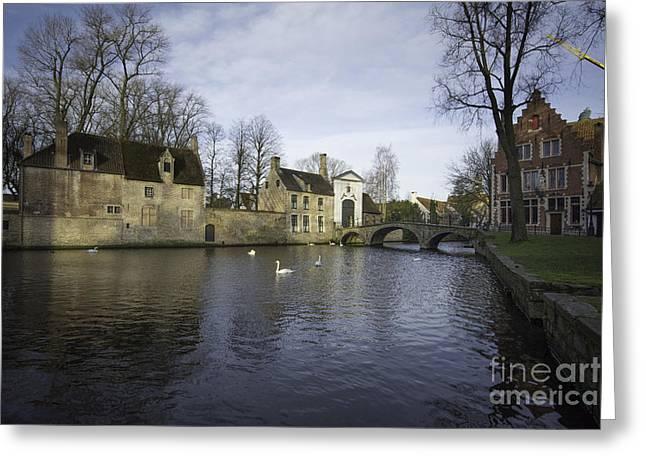 Wijngaardplein Bruges Greeting Card by Nichola Denny