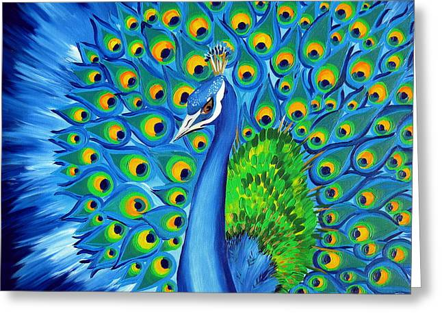 Wild And Free-peacock Greeting Card by Cathy Jacobs