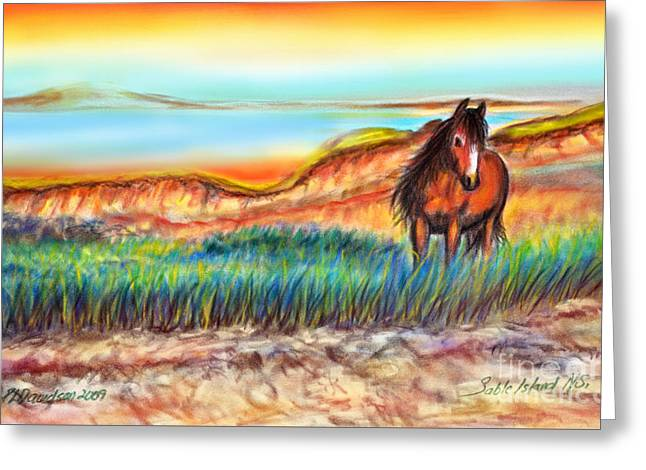 Greeting Card featuring the painting Wild And Free Sable Island Horse by Patricia L Davidson