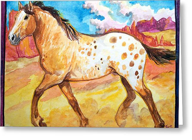 Jenn Cunningham Greeting Cards - Wild appaloosa horse Greeting Card by Jenn Cunningham