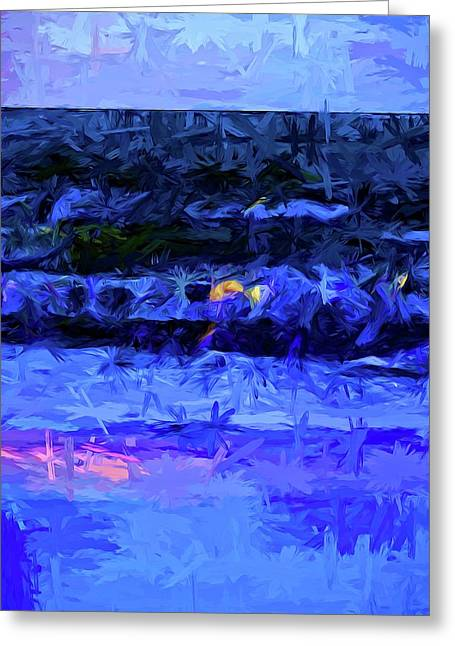 Wild Blue Sea Under The Lavender Sky Greeting Card by Jackie VanO