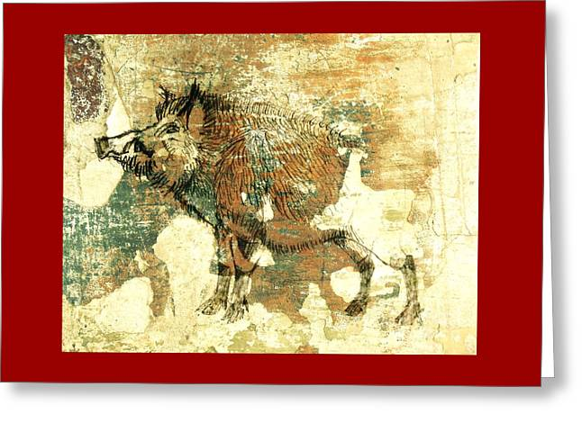 Wild Boar Cave Painting 1 Greeting Card