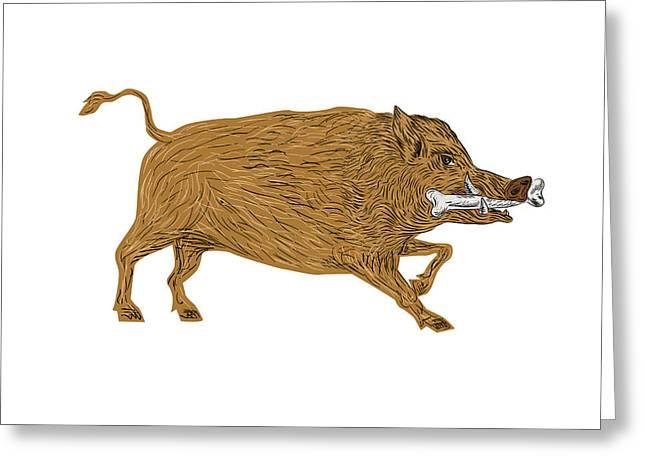 Wild Boar Razorback Bone In Mouth Walking Retro Greeting Card