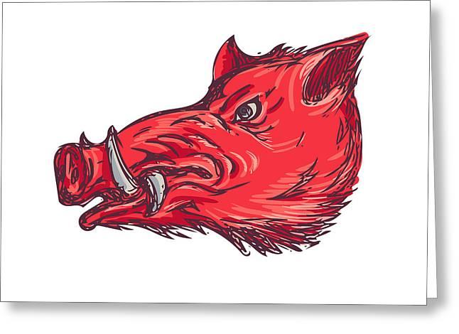 Wild Boar Razorback Head Side Drawing Greeting Card