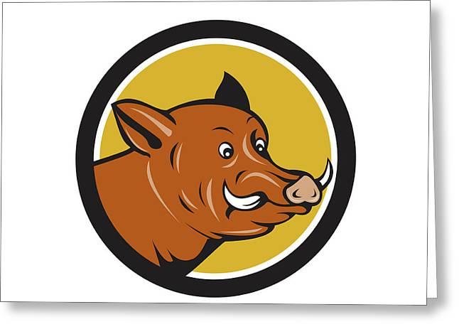 Wild Boar Razorback Head Startled Circle Cartoon Greeting Card