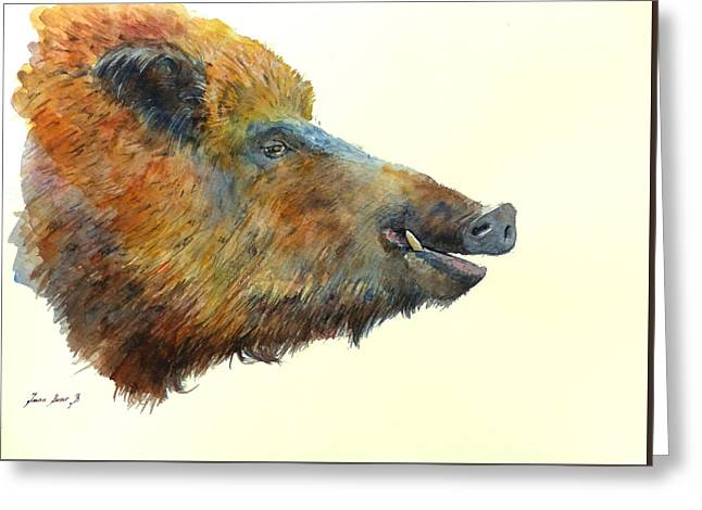 Wild Boar Watercolor Painting Greeting Card by Juan  Bosco