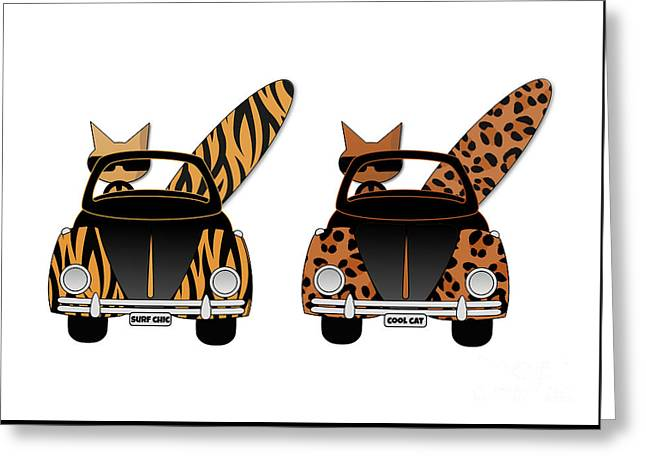 Wild Cats Go Surfing Greeting Card