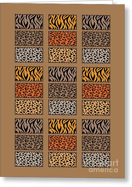 Wild Cats Patchwork Greeting Card