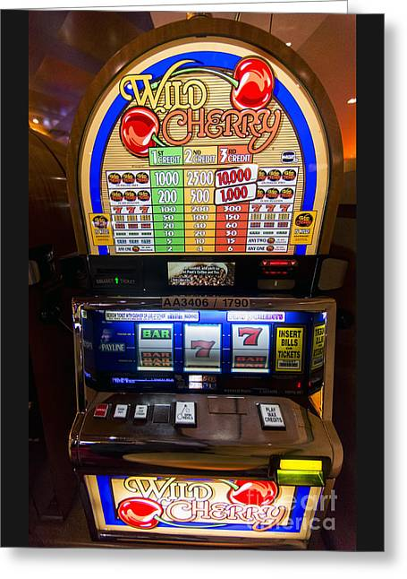 Wild Cherry Slot Machine At Lumiere Place Casino Greeting Card by David Oppenheimer