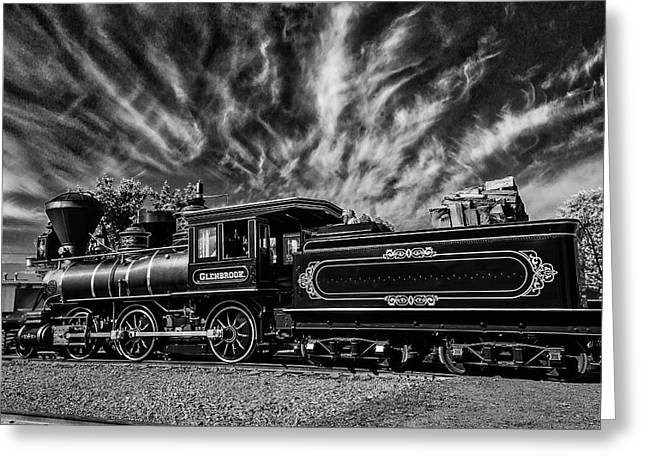 Wild Clouds Over Old Train Greeting Card