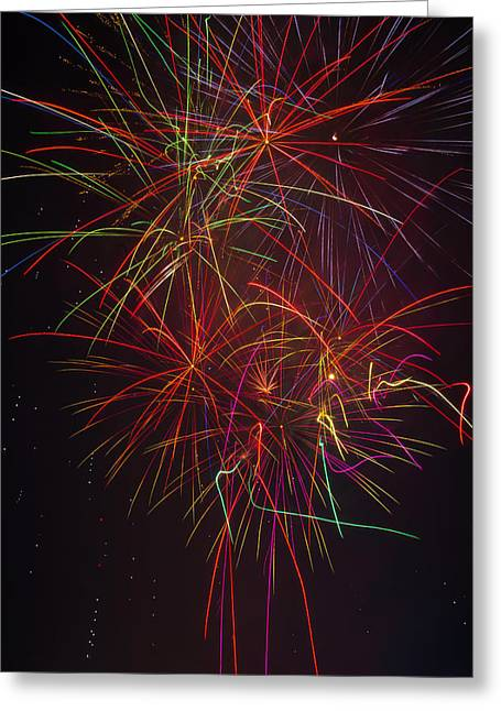 Wild Colorful Fireworks Greeting Card by Garry Gay