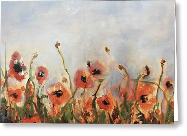 Wild Corn Poppies Underpainting Greeting Card