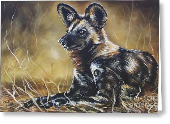 Wild Dog Greeting Card by Ilse Kleyn
