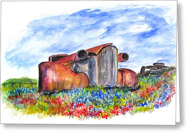 Wild Flower Junk Car Greeting Card