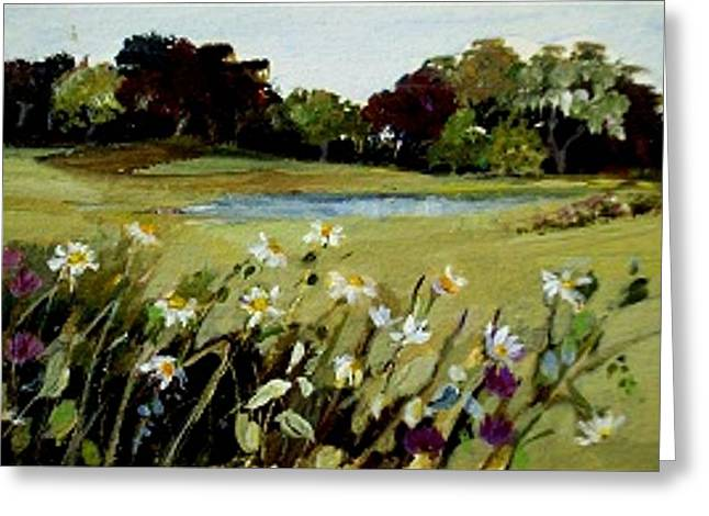 Greeting Card featuring the painting Wild Flower Landscape by Diane Ursin