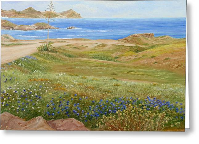 Greeting Card featuring the painting Wild Flowers by Angeles M Pomata