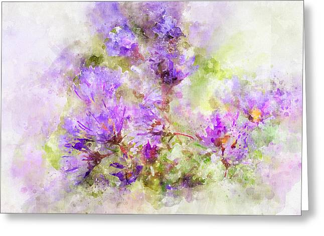 Greeting Card featuring the photograph Wild Flowers In The Fall Watercolor by Michael Colgate