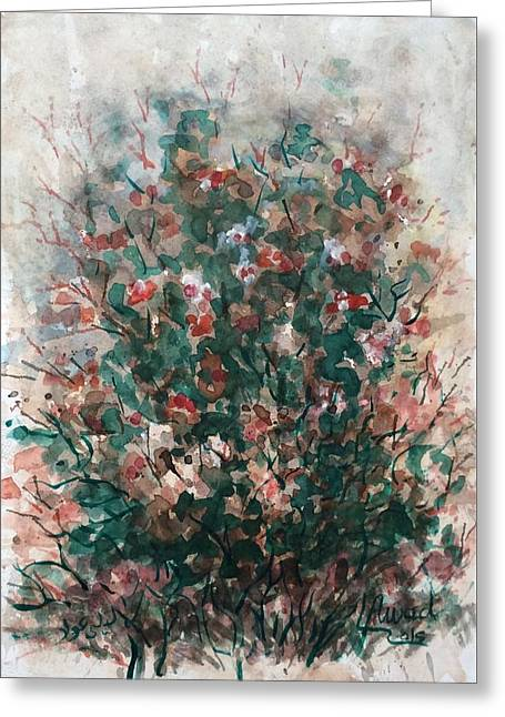 Greeting Card featuring the painting Wild Flowers by Laila Awad Jamaleldin