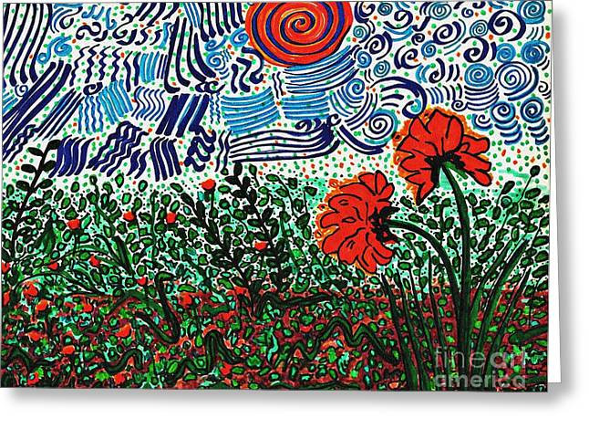 Wild Flowers Under Wild Sky With Floral Texture   Greeting Card