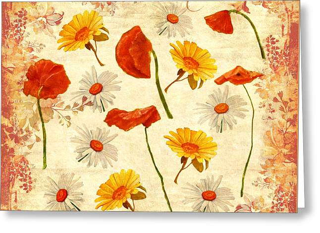 Greeting Card featuring the mixed media Wild Flowers Vintage by Angeles M Pomata