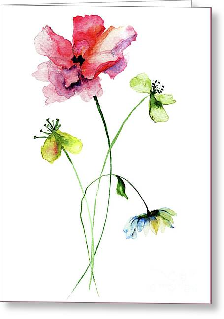 Wild Flowers Watercolor Illustration Greeting Card