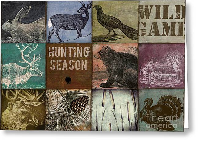 Wild Game Patchwork Greeting Card by Mindy Sommers
