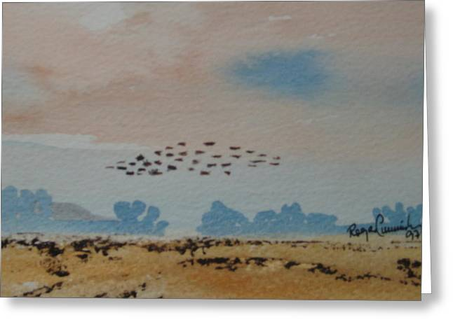 Wild Geese Heading Home. Greeting Card by Roger Cummiskey