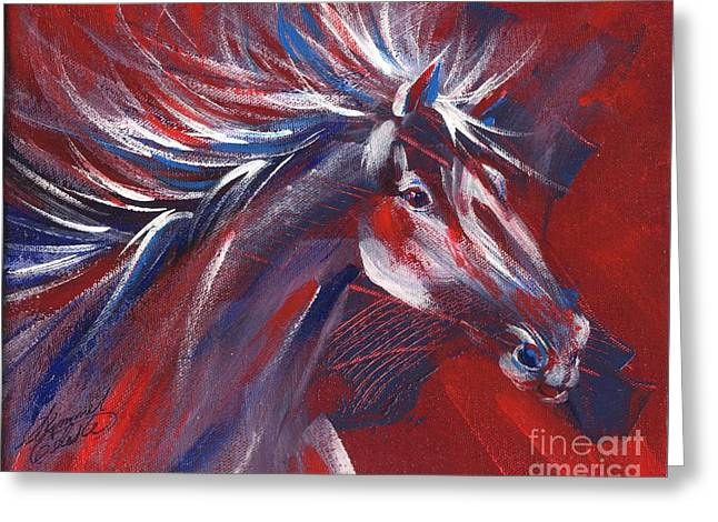 Wild Horse Bust Greeting Card by Summer Celeste