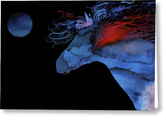 Wild Horse Under A Full Moon Abstract Greeting Card by Michelle Wrighton