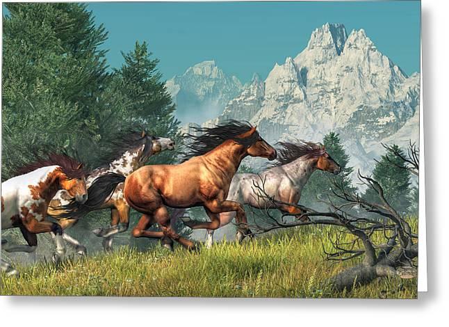 Wild Horses Greeting Card by Daniel Eskridge
